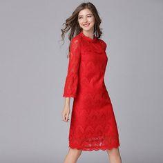 27bb257eb9b 5XL Clothing Robe Vestido Dresses Elegant Female Dress Sleeve Flare 3 4 Lace  Out Hollow Women Size Plus