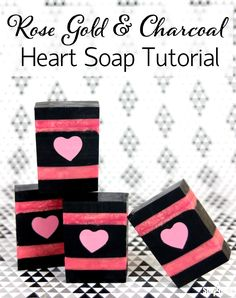 Rose Gold & Charcoal Heart Soap Tutorial - Home Made Soap Soap Melt And Pour, Body Tutorial, Homemade Soap Recipes, Homemade Cards, Handmade Soaps, Handmade Headbands, Handmade Rugs, Handmade Crafts, Heart Melting