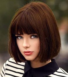 Short Brown Hair Wigs Bob Wig with Bangs for Women Straight Synthetic Wig 12 Inch Natural Looking As Real Hair Brown Hair With Fringe, Brown Bob Hair, Brown Blonde Hair, Short Hair Long Bangs, Short Bob Wigs, Short Hair Styles, Bobbed Hairstyles With Fringe, Short Bob Hairstyles, Wig Hairstyles