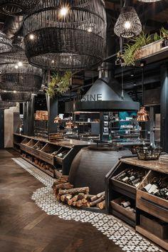Vintage Restaurant Design, Rustic Restaurant, Luxury Restaurant, Bistro Design, Cozy Cafe, Restaurant Interior Design, Facade Design, Fireplace Design, Retail Design