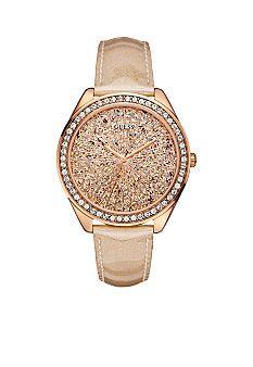 GUESS Peach Glitter Patent Leather Strap Watch #belk #gifts #women