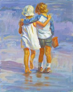 TITEL: GENTLE HEARTS Gute Freunde, evtl. Geschwister, einen Spaziergang am Strand entlang Titel: Gentle Hearts - 5 x 7. signierter Druck auf schwere Archivpapier. Dieses Bild würde eine hervorragende Ergänzung zu einer Gruppierung der sechs Bilder, die hier aufgeführt. Innerhalb von zwei Tagen nach Erhalt der Bestellung über die Post geschrieben
