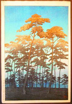 KAWASE HASUI  Hikawa Park,Omiya  woodblock print