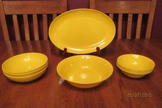 Eleven (11) Piece Lot Of Vintage Yellow Texas Ware Melamine ~ Platter ~ Bowls
