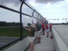 Melbourne, Florida where about thirty people attended. There was a lot of support from cars and trucks passing by.