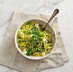 quinoa noodles with olives, basil, garlic, and lime