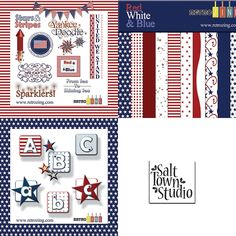 Red White & Blue Collection Free Digital Scrapbooking, Alphabet And Numbers, Red White Blue, Blue Stripes, Digital Art, Studio, Retro, Collection, Studios