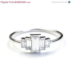 Sale Diamond Engagement Ring Engagement Ring Baguette by NIXIN, $1440.00