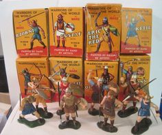 MARX WARRIORS OF THE WORLD PLAYSET ALL 8 VIKINGS BOXES CARD PLASTIC TOY SOLDIERS #MARX
