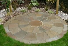 Raj Blend Sandstone Circle Diameter - Natural Stone & Timber Ltd Circular Garden Design, Circular Patio, Back Garden Design, Backyard Trees, Garden Paving, Garden Yard Ideas, Backyard Makeover, Small Gardens, Dream Garden