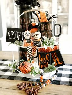 These cute little signs are a perfect accent for your farmhouse/ Rae Dunn fall and Halloween decor. You get all three signs pictured Witches feet Trick or treat Spooky They measure 4.5in x 3.5in. These are PERFECT for tiered trays, hutches, coffee bars, shelves AND EVEN MUG RACKS. The possibilities are endless. Signs are made the same color combos as the picture. I don't customize these.