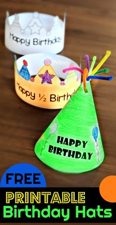 FREE Printable Birthday Hats - super cute free happy birthday hats for kids to print, color, and wear for their actual or half birthday. Several choices to choose from Happy Birthday Crafts, Preschool Birthday, Happy Birthday Printable, Classroom Birthday, Birthday Activities, Half Birthday, Birthday Party Hats, Printable Activities For Kids, Diy Birthday