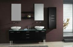 Need help picking the right modern bathroom vanity? Photos of modern bathroom vanities, modern bathroom vanity design ideas for helpful how-to articles and more. Ikea Bathroom Vanity, Modern Bathroom Cabinets, Bathroom Vanity Designs, Small Bathroom Vanities, Modern Bathroom Design, Bathroom Interior Design, Bathroom Mirrors, Vanity Sink, Vanity Units
