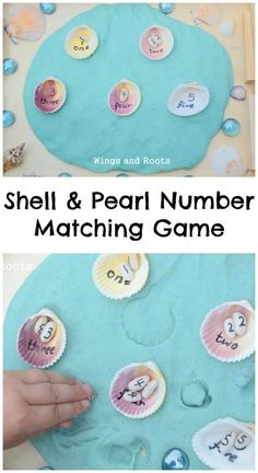 Under the Sea theme : shell and pearl number matching game Sea Activities, Nursery Activities, Number Matching, Matching Games, Summer Crafts, Summer Fun, Summer School, Sharing A Shell, Preschool Crafts