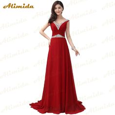Alimida Chiffon Prom Dress 2016 V-Neck Sexy Back Sequined Evening Dresses Party Prom Gowns Custom Made robe de soiree