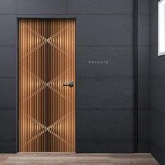 Modern Deco See through Door Wallpaper - vertical wood lines Mural Modern Wood Doors, Modern Entrance Door, Home Entrance Decor, Contemporary Doors, Wooden Doors, Door Design Interior, Main Door Design, Front Door Design, Gate Design