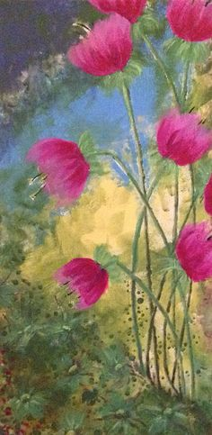 """Fantasy Floral #10  by Karen Woodbury   12"""" x 24"""" acrylic on canvas   copyright 2015 all rights reserved"""