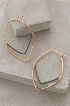 Linear Leaf Hoops-Anthropologie.