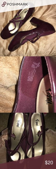 """FIONI HADDIE T-STRAP HEEL WINE 🍷 COLOR Fioni T-Strap Heel design in like new condition, worn only once! 💥 Adjustable strap with buckle, hidden fire, jersey lining, padded insole, 3 1/2 """" wrapped block heel with a durable outsole. Comfortable enough to wear with pants, skirts, dresses or jeans! Easy to clean just wipe dust or dirt off with a clean, dry cloth.  Size 11 WINE color FIONI Clothing Shoes Heels"""