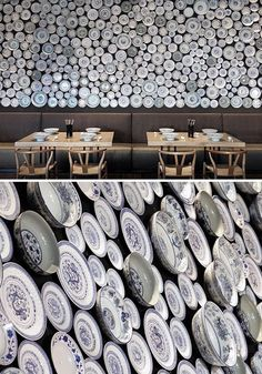 Decorar com Pratos (1001 pratos na parede!) | Decor with Plates (1001 dishes on the wall!) Cinza e Madeira | Grey and Wood See it in magrinimaison.blogspot.com