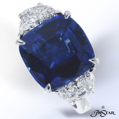 JB Star cushion cut sapphire and diamond ring.