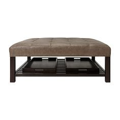 Butler Square Tufted Leather Ottoman With Trays In Libby