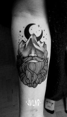 #julao #tattoo #beard #mountain #moon #dotwork #blackwork