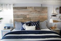 Rustic Nautical Master Bedroom Makeover: Source Guide to what was Bought, Borrowed, and Brought up from the Basement via thinkingcloset.com Nautical Bedroom, Coastal Bedrooms, Wood Bedroom, Blue Bedroom, Trendy Bedroom, Bedroom Decor, Bedroom Ideas, Bedroom Furniture, Rustic Bedrooms