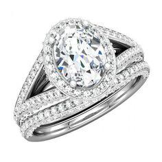 Oval Shape with Sparkling Diamond Wedding Ring - http://www.mybridalring.com/Rings/oval-shape-split-shank-semi-mount-with-matching-diamond-band/