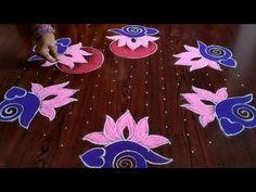 Indian Rangoli Designs, Rangoli Designs Latest, Simple Rangoli Designs Images, Rangoli Designs Flower, Rangoli Patterns, Rangoli Border Designs, Rangoli Designs With Dots, Flower Rangoli, Rangoli With Dots