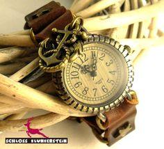 ADMIRALIN Echtleder Natur Nostalgie Armbanduhr  von Schloss Klunkerstein - Uhren, von Hand gefertigter Unikat - Schmuck aus Naturmaterialien, Medaillons, Steampunk -, Shabby - & Vintage - Schätze, sowie viele einzigartige und liebevolle Geschenke ... auf DaWanda.com