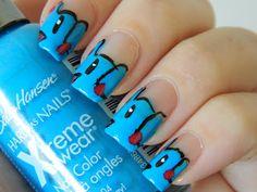 Phanpy nails so cute Funky Nail Art, Funky Nails, Crazy Nails, My Nails, Elephant Nail Art, Circus Nails, Wide Nails, Nailart, White Cupcakes