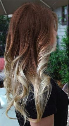 Warm chocolate brown and cold blonde ombré. So nice!