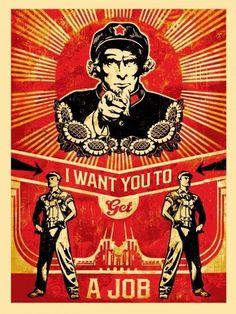 #art RARE Get A Job Screen Print Shepard Fairey Artist's Proof Obey Giant please retweet