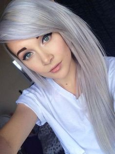 Cute Silver Gray Hair Color Shades for Long Straight Hair