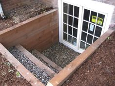Nice brown treated stepped well. Basement Entrance, Basement Guest Rooms, Basement Windows, Basement House, Basement Apartment, Walkout Basement, Basement Flooring, Basement Waterproofing, Flooring Ideas