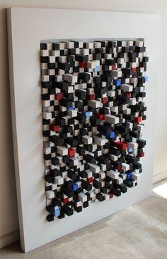 """""""spin colores"""" construccion de cubos de madera de 2.5cm sobre marco de madera 100cm por 80 cm."""""""