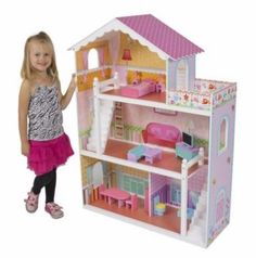 Barbie Doll House With Furniture 3-Story Pink Wooden Dollhouse Girls Playhouse #BarbieDollHouse