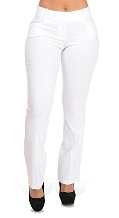 Boot Cut Mid Rise White Dress Pants  Small -- Click image for more details.