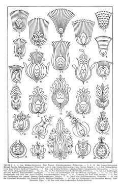 Magyar ornament, Hungarian ornament, floral ornament Magyarische Ornamentik – illustrations from book, which was published in Leipzig, Verlag von Karl W. Zentangle Patterns, Embroidery Patterns, Hungarian Embroidery, Motif Floral, Collage Sheet, Digital Collage, Doodle Art, Flower Patterns, Line Art