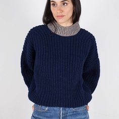 Pure Wool Women´s jumper crafted in Spain. Navy Spanish wool with a touch of natural grey in the neckline. Such a cozy knit, perfect to be worn everyday