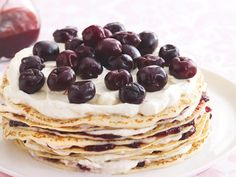Light and fluffy crepes are layered with a rich cream and sweet cherry jam to create this delicious dessert. Cut yourself a slice and enjoy with a cup of coffee for morning tea.