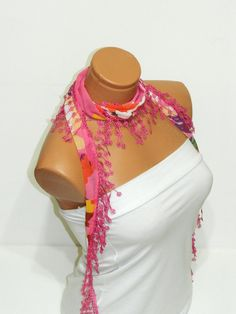 Personalized Design Pink Multicolor Scarf by WomanStyleStore, $14.00