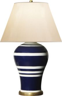 "Ralph Lauren Home ""Delphine"" table lamp, navy base w/ white horizontal stripes, cream colored shade, $945.00"