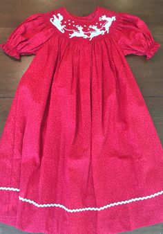 Smocked Santa and Sleigh Dress by BabyBearChic on Etsy