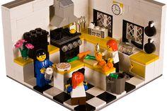 A Dad, a Mom, and a child getting ready for Lego supper! Legos, Lego Kitchen, Lego Village, Lego Furniture, All Lego, Lego Modular, Lego Room, Cool Lego Creations, Lego Worlds