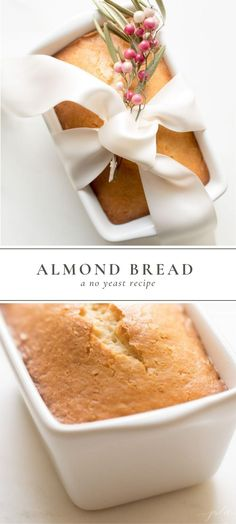 Almond Bread is a moist quick bread for breakfast snack or dessert. This easy Almond Bread recipe requires only staple ingredients: sugar flour baking powder salt eggs milk vegetable oil and almond extract and takes just 5 minutes hands on time to make! Bread Recipes, Baking Recipes, Dessert Recipes, Lasagna Recipes, Cod Recipes, Cabbage Recipes, Oven Recipes, Pudding Recipes, Potato Recipes