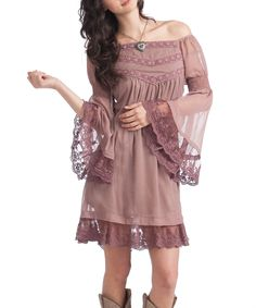 Sugared Plum Embroidered Carlee Peasant Dress -