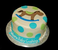 turquoise baby shower | ... : Rocking Horse Baby Shower Cake with Aqua and Green Polka Dots