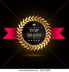 Top Brands golden badge. Top brand golden badge, vector illustration. - stock vector